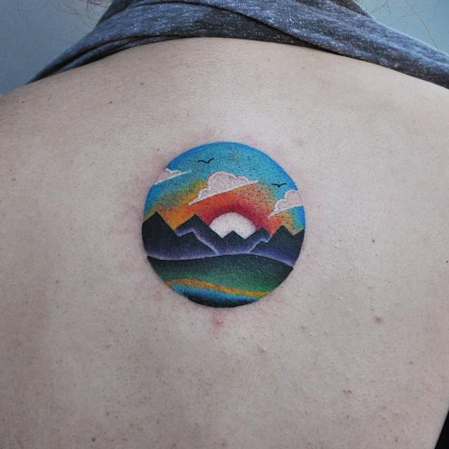 Colorful landscape on the back