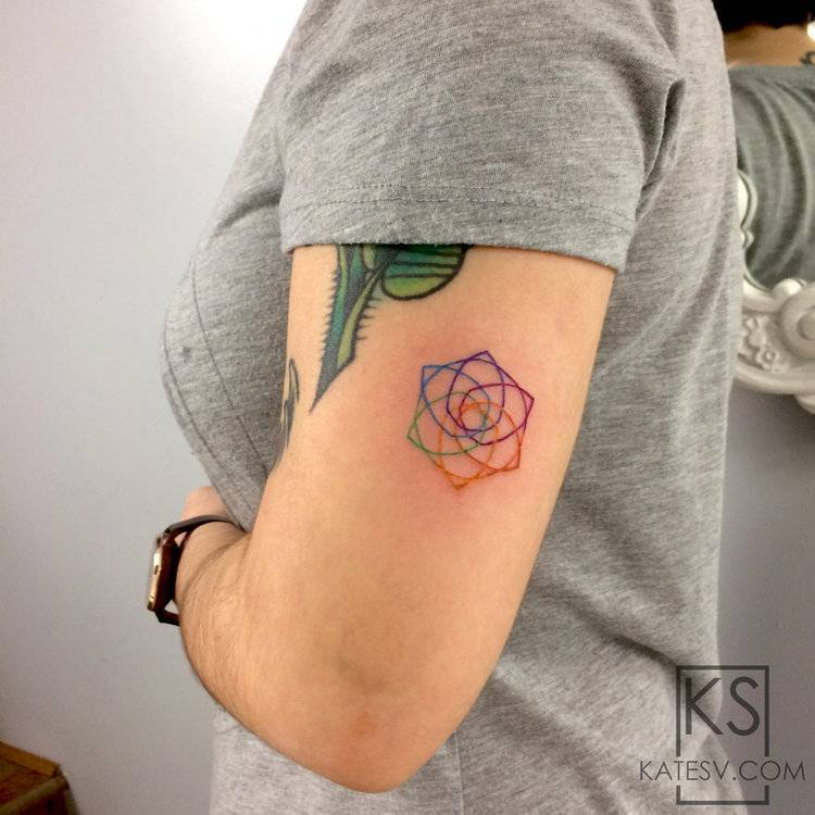 Colorful seed of life tattoo