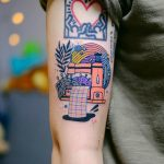 Colorful sewing machine tattoo