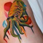 Colorful squid tattoo