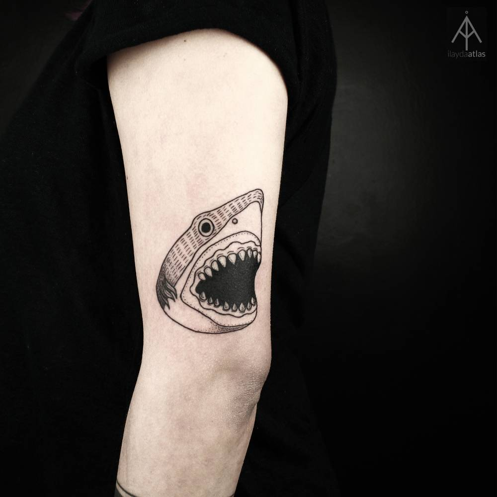 Cool shark tattoo on the arm