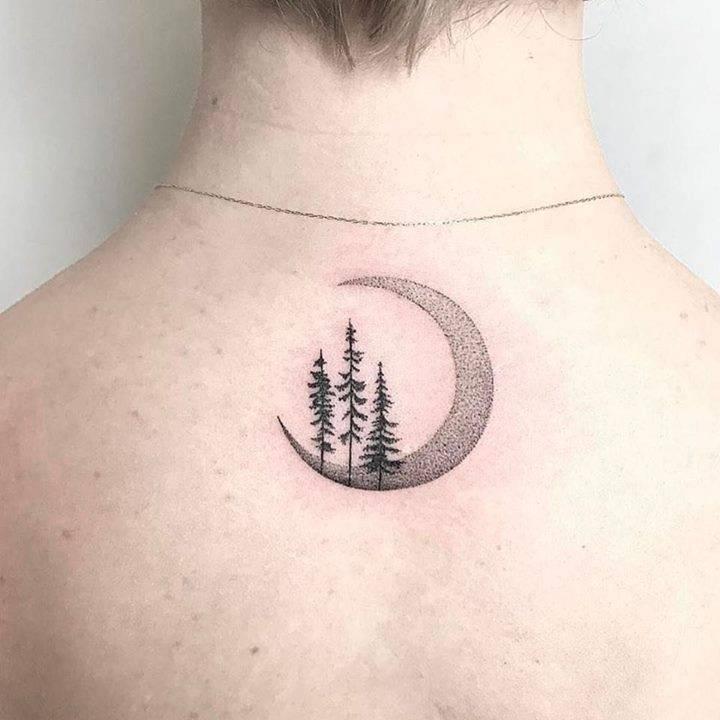 Crescent moon and three trees