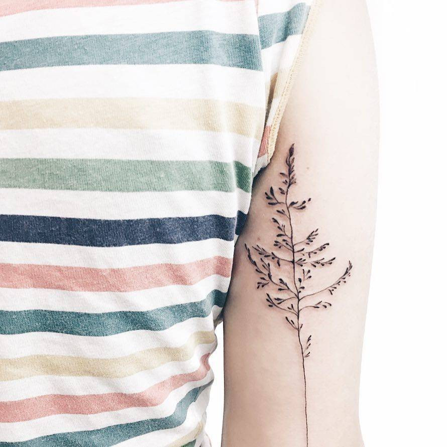Delicate black plant tattoo