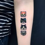 Dog and three cats tattoo