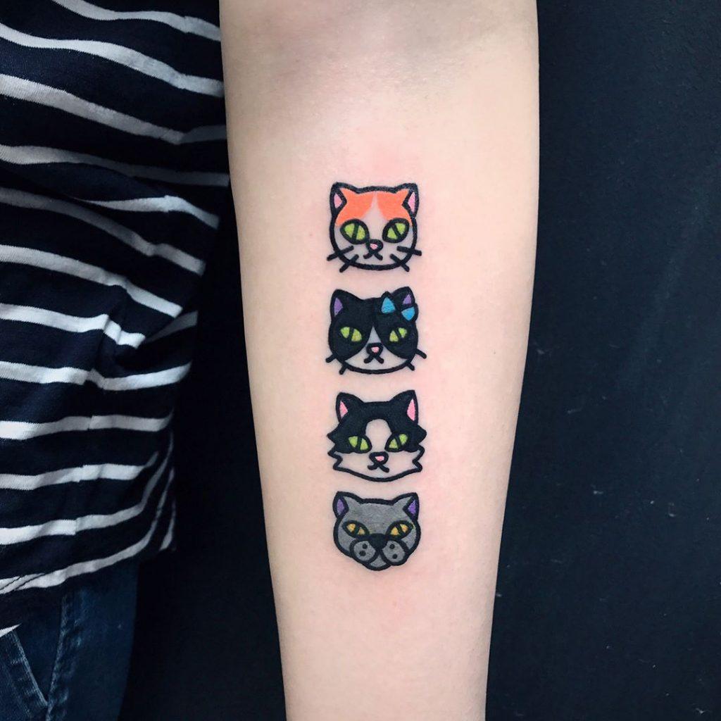 Dog and three cats tattoo