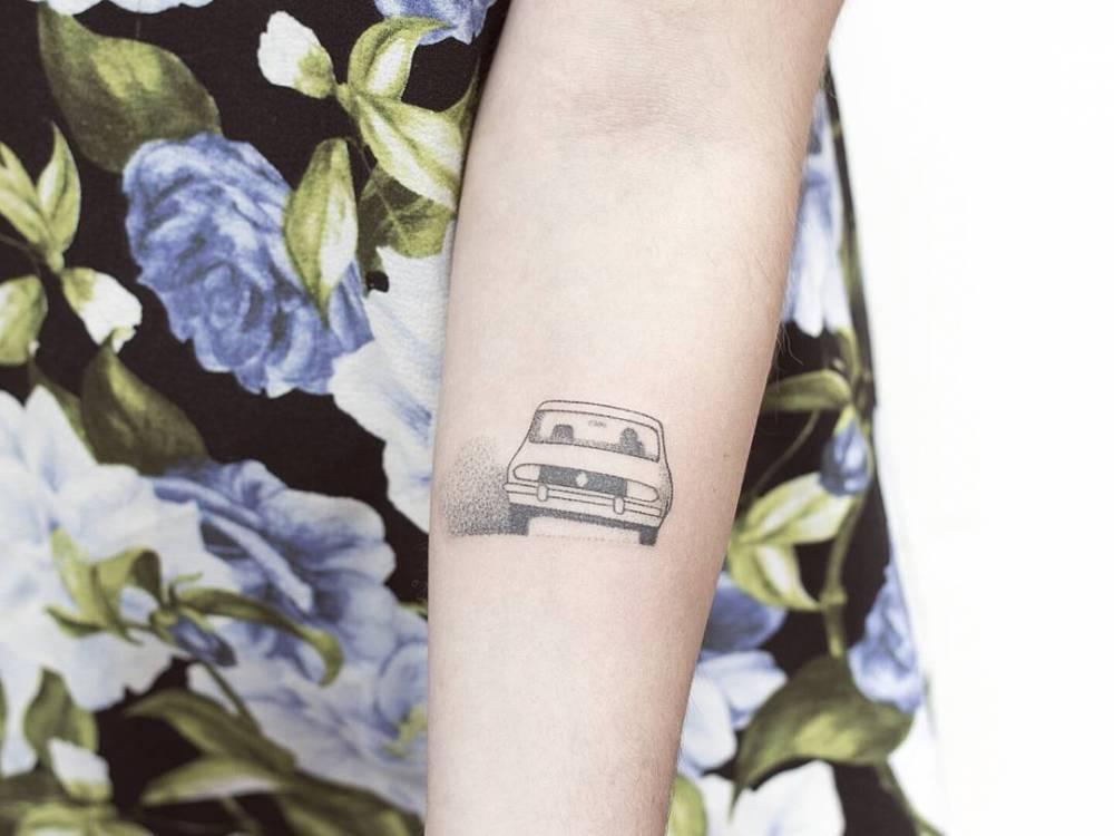 Dotwork tattoo of a car