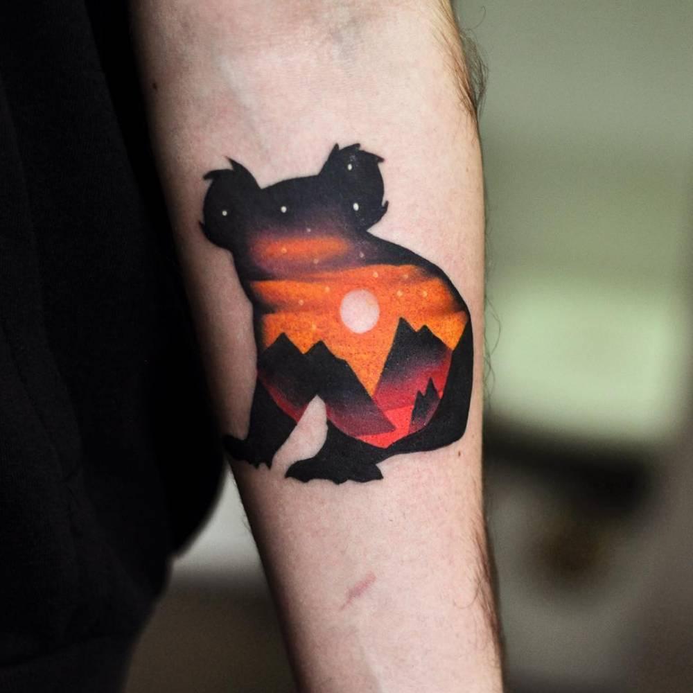 Double exposure koala tattoo