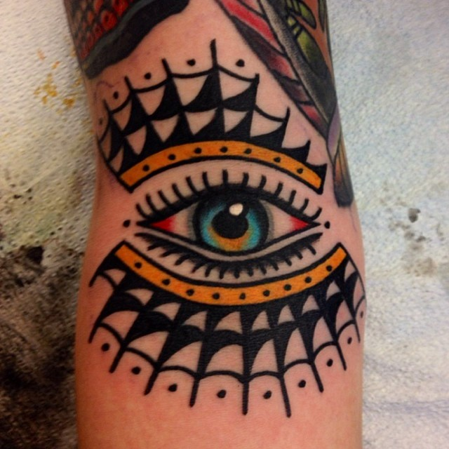 Eye and spider web tattoo