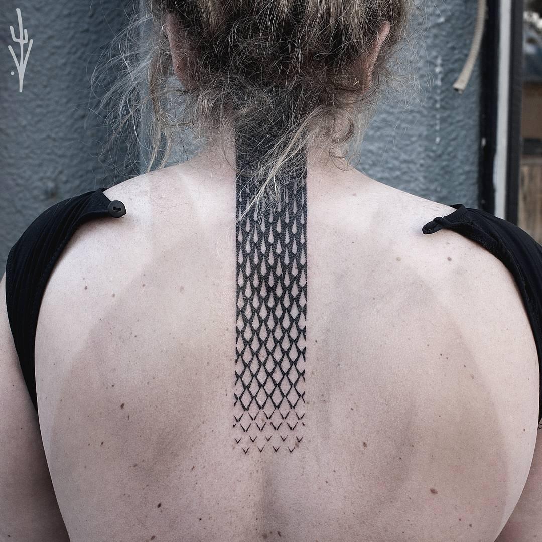 Fallling rhombus pattern tattoo