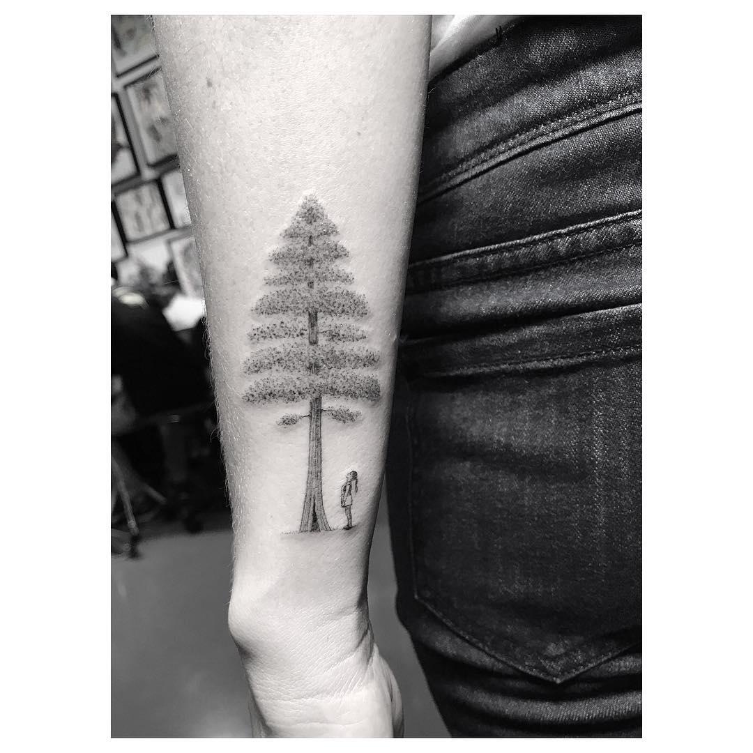 Girl and tree tattoo
