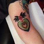 Heart shaped kiwi tattoo