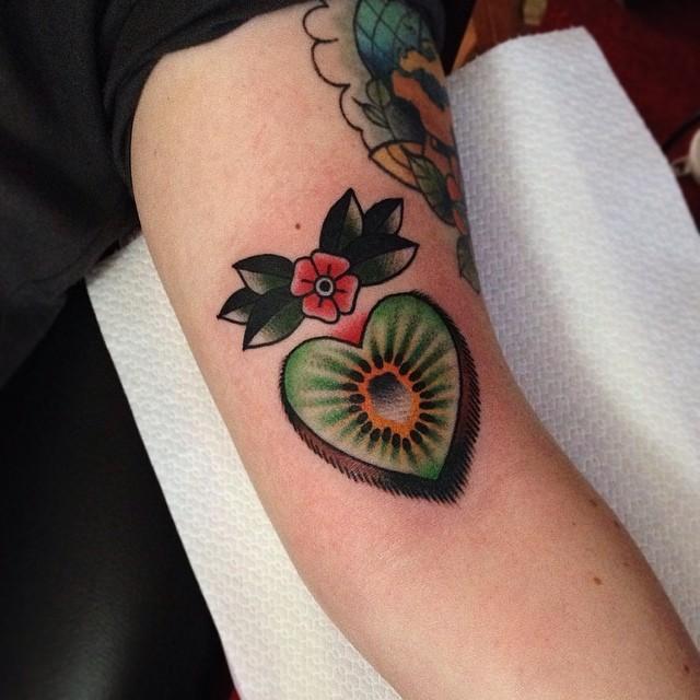 Heart shaped kiwi tattoo