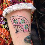 Japanese style hand fan tattoo