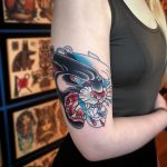 Japanese style panther head tattoo
