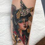 Lady hawk tattoo