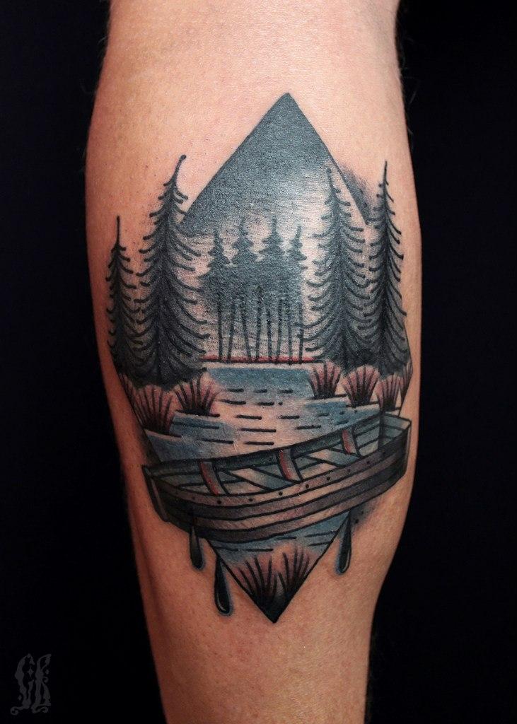 Lake landscape tattoo