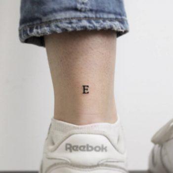 Letter e tattoo