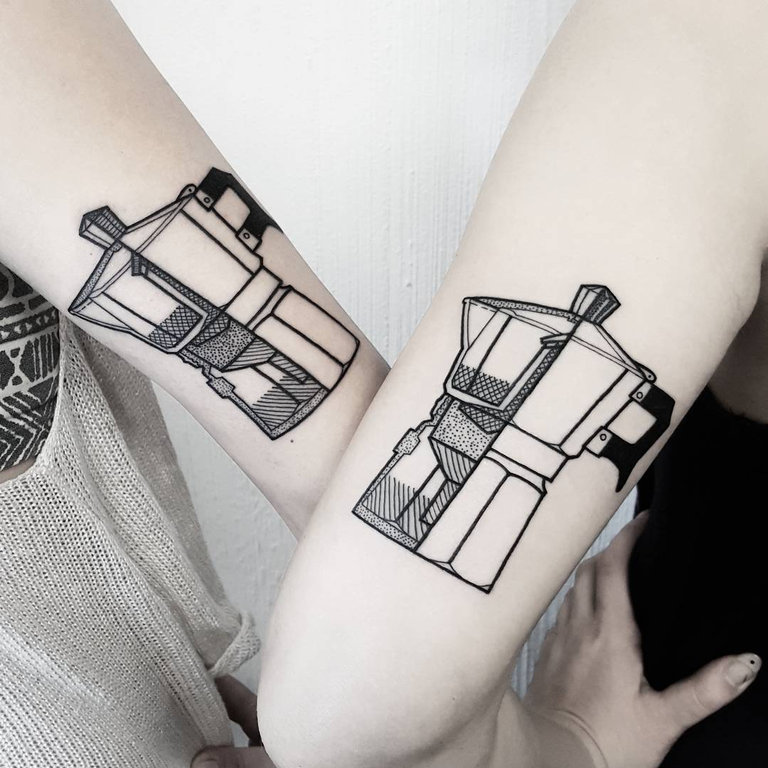 Matching moka pot coffee tattoos