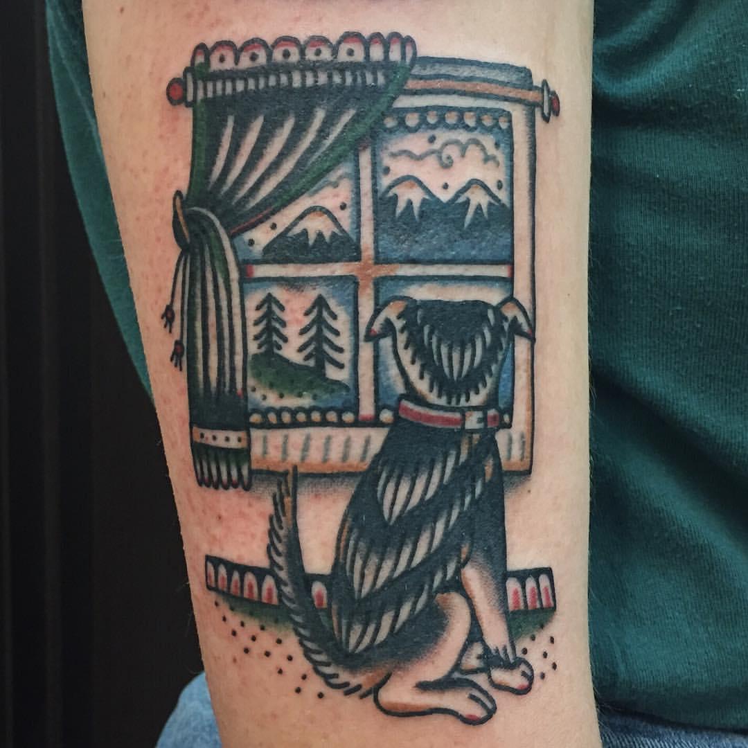 Melancholic dog tattoo
