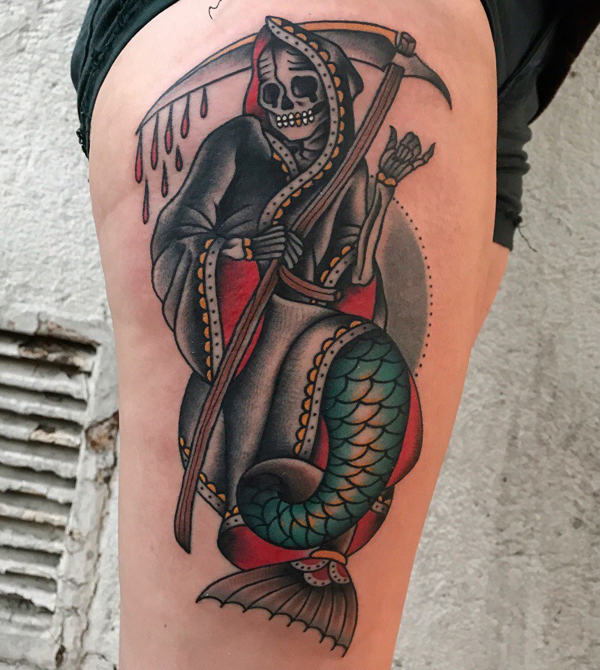 Mermaid grim reaper tattoo