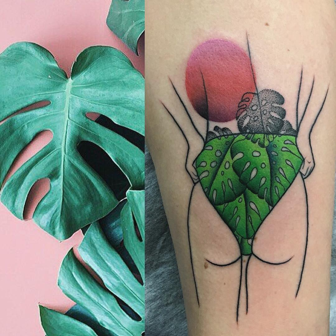 Monstera leave skirt tattoo