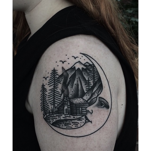 Moon and hut in the woods tattoo