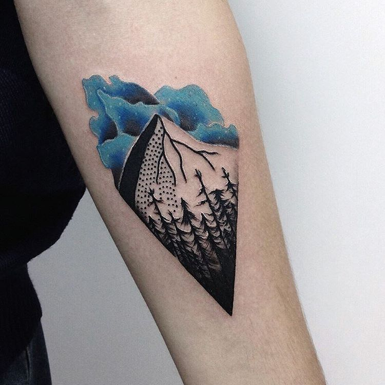 Mountain and trees tattoo
