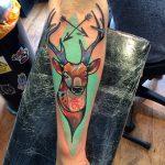 Neo traditional deer tattoo