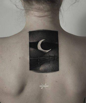 Nostalgic landscape and moon tattoo