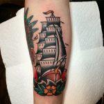 Old school ship tattoo