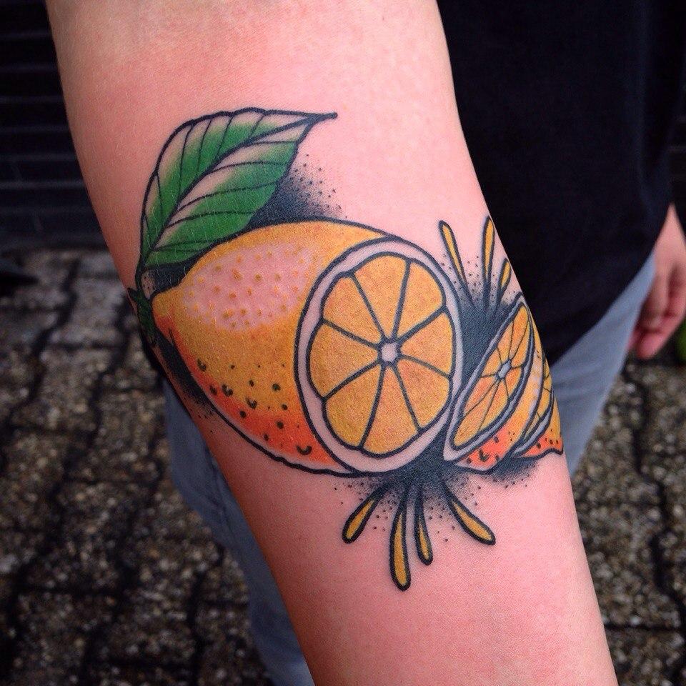 Old school style lemon tattoo