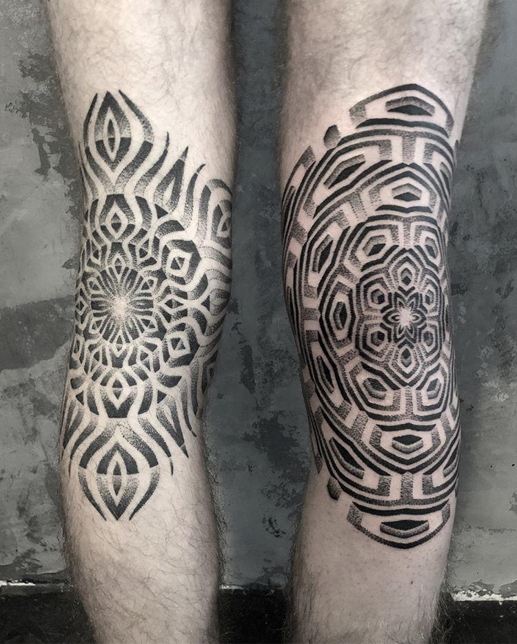 Optical illusion ornament tattoos