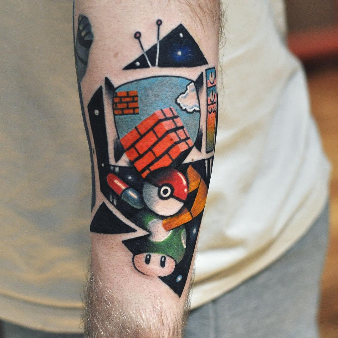 Pokemon tattoo on the forearm