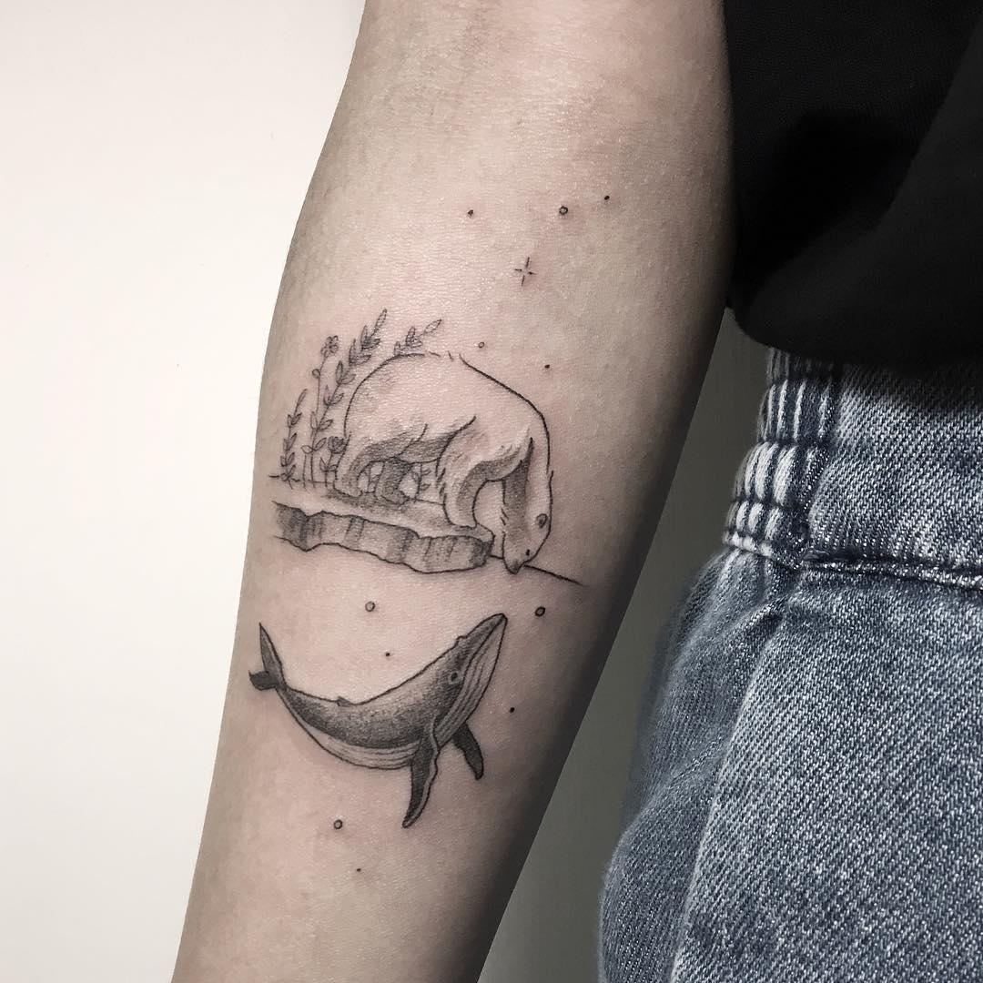 Polar bear and whale tattoo