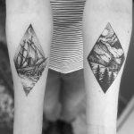 Sea and mountain landscape tattoos