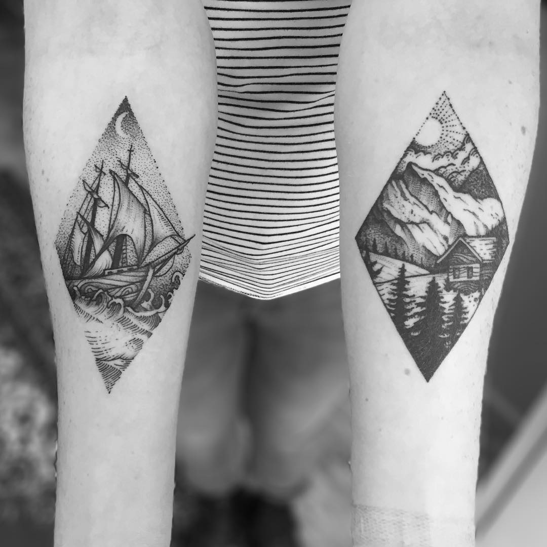 Sea and mountain landscape tattoos