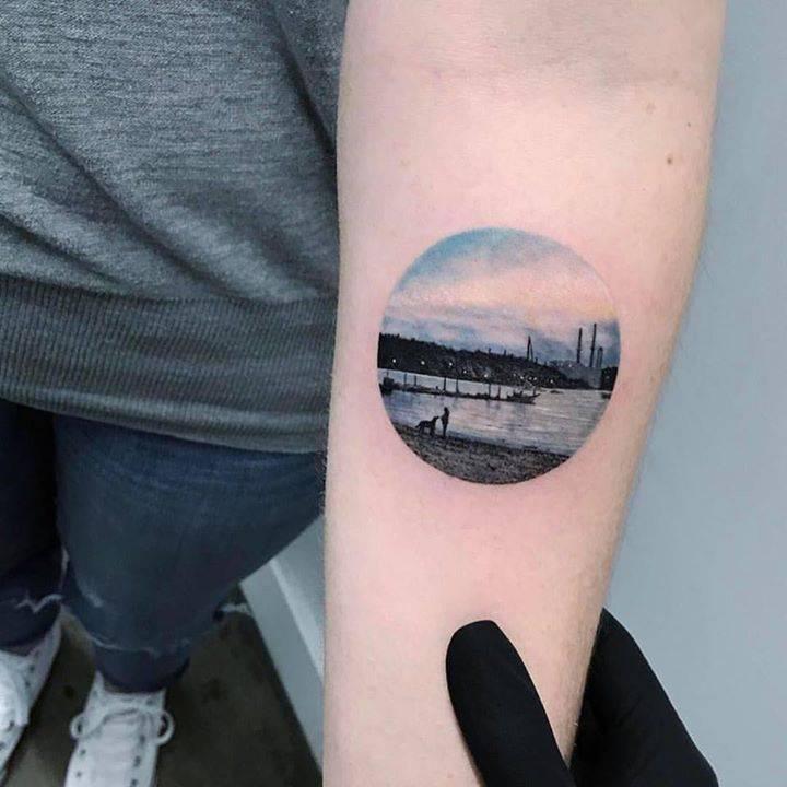 Shore landscape tattoo