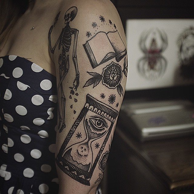 Skeleton book and hourglass tattoos