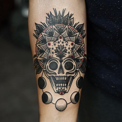 Skull mandala and moon phases tattoo - Tattoogrid net