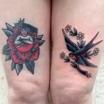 Swallow and rose traditional tattoos
