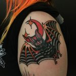 Traditional style bat tattoo