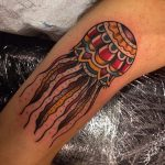 Traditional style jellyfish tattoo