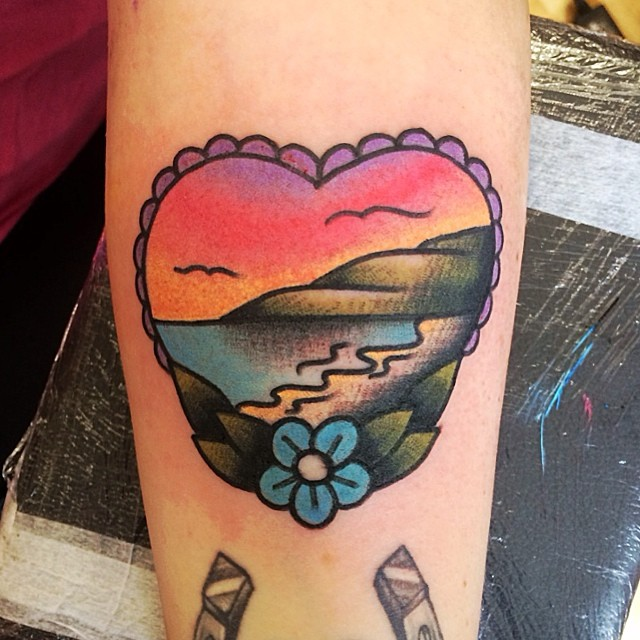 Traditional style shore landscape tattoo