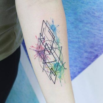 Triangles and watercolor splashes tattoo