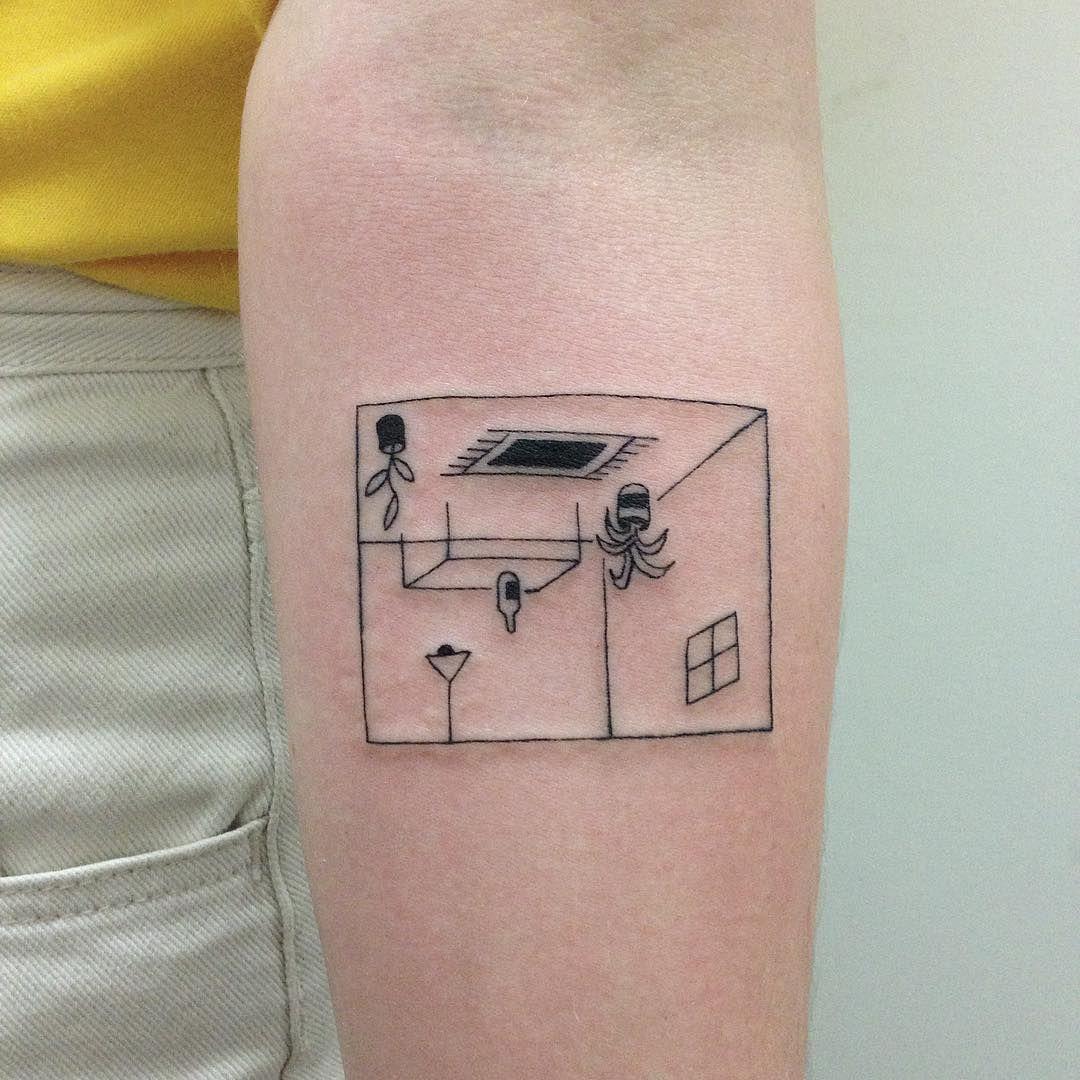 Upside down room tattoo