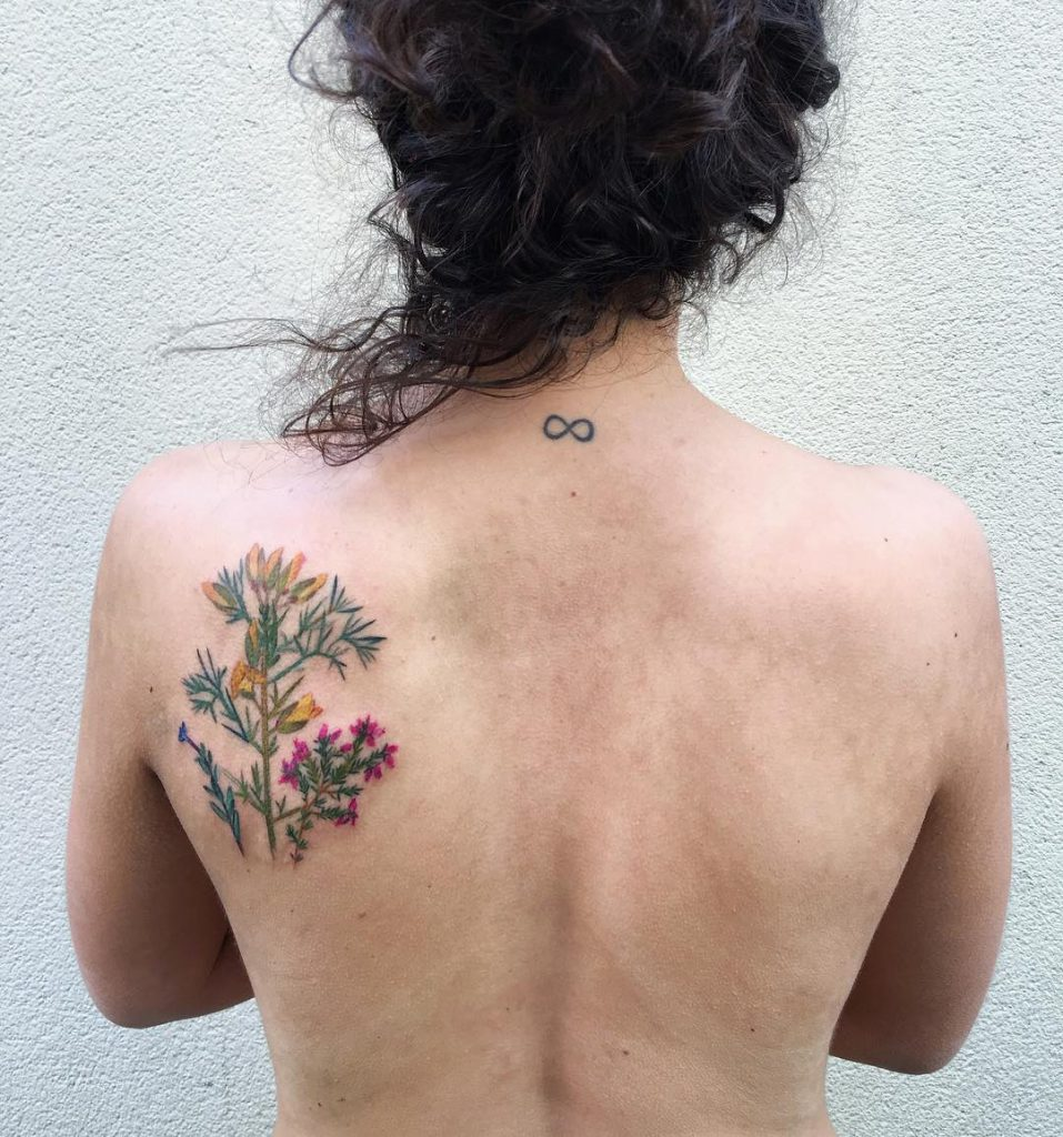 Wildflower Tattoo On The Left Shoulder Blade Tattoogrid Net