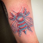 3d red and blue bee tattoo