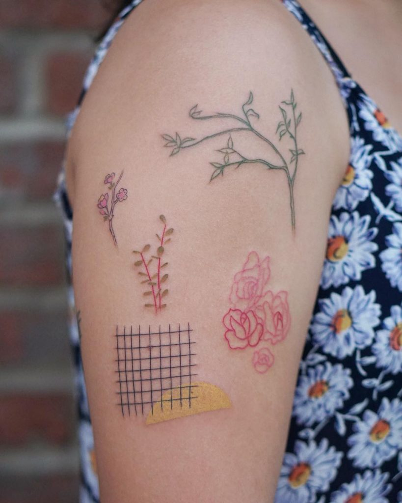 Abstract collage tattoo