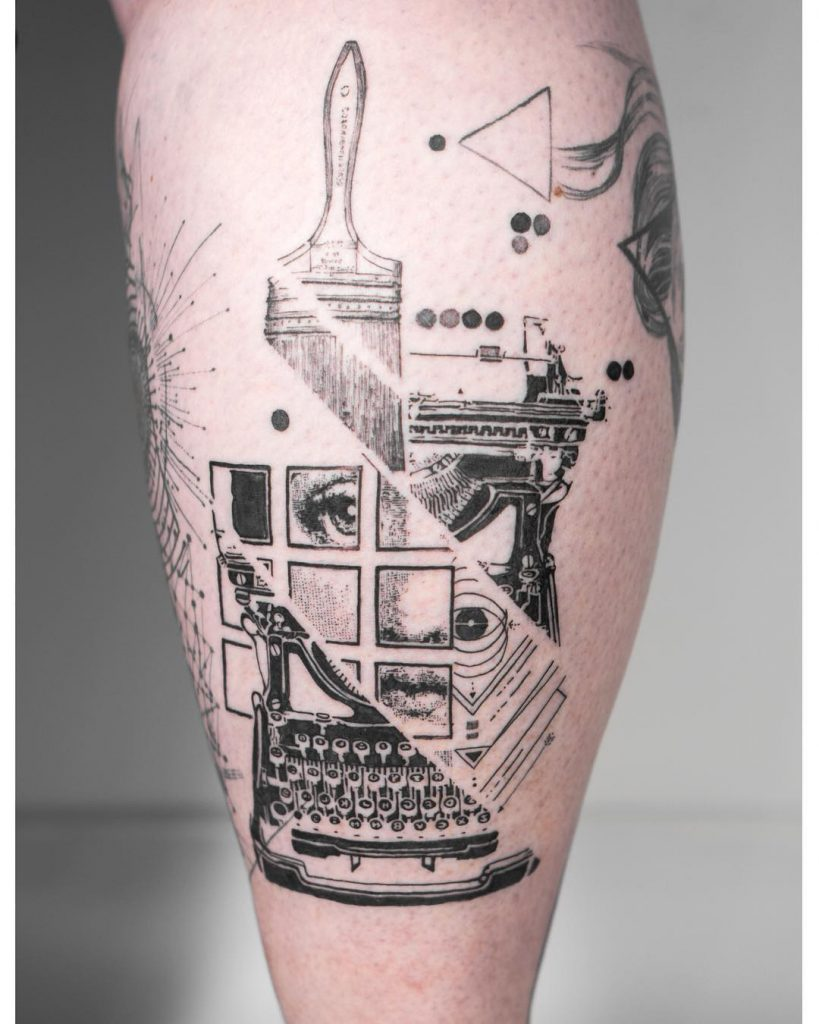Abstract face and typewriter tattoo