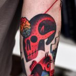 Abstract skull and brains tattoo
